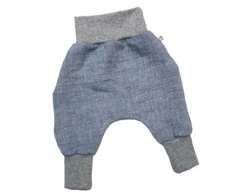 Baby Summer Pants *Musselin Blue-melted* Pants, Baby Pants
