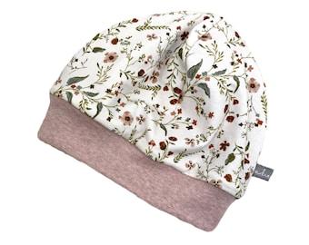 Beanie Hat *Petit Fleurs* Baby Kids Girl Jersey
