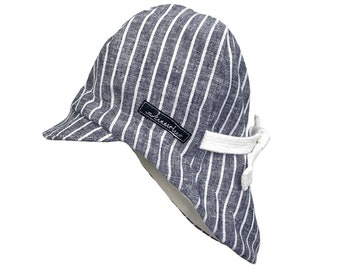 Summer hat *blue linen striped* Sun hat baby, kids