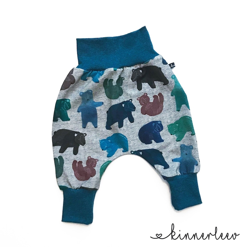 93ab72e871 Baby Pumphose Bear Grey petrol Baby Pants Jersey Boy | Etsy