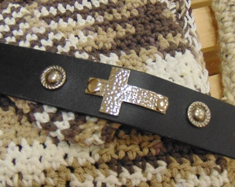 Black Leather Cuff Bracelet with Silver Cross