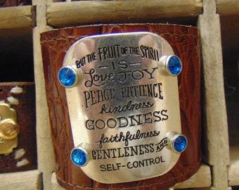 "Leather Cuff Bracelet-Repurposed-""...fruit of the Spirit is Love..."" focal pendant"
