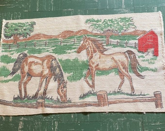Vintage Colorful Cotton Throw Rug with Horses, Red Barn and Green Pasture... Beautiful!