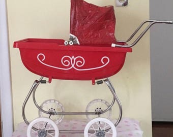 1960's  Red Doll Pram