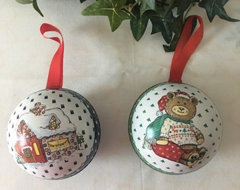 2 Daher Tin Litho Christmas Candy Containers