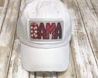 e6863111d2a980 Distressed White Cap with BAMA Patch White Trucker Hat