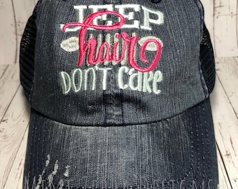 5816b95c6f6 Jeep Hair Don t Care Black Trucker Hat Distressed Trucker Cap Embroidered  Jeep Hair Hat