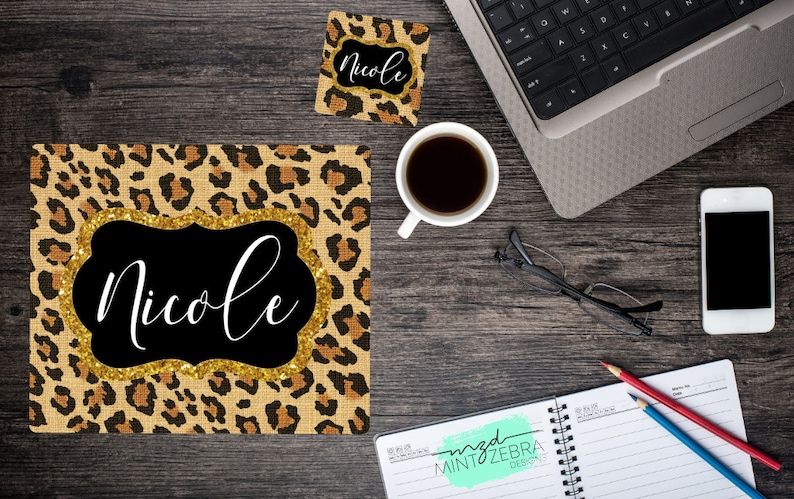 Personalized Leopard Print Mousepad Coaster Set Desk Accessories Office Decor