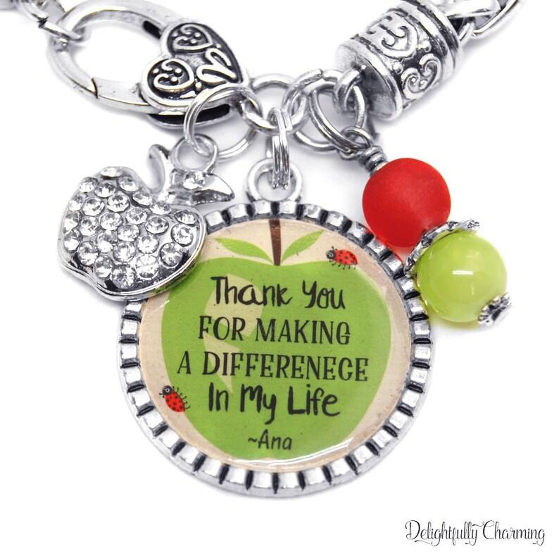 Personalized Apple Gift Teacher/ Teacher Appreciation Bracelet/ Teacher  Appreciation Jewelry/ Teachers That Teach Gift/ English Teacher/ TY