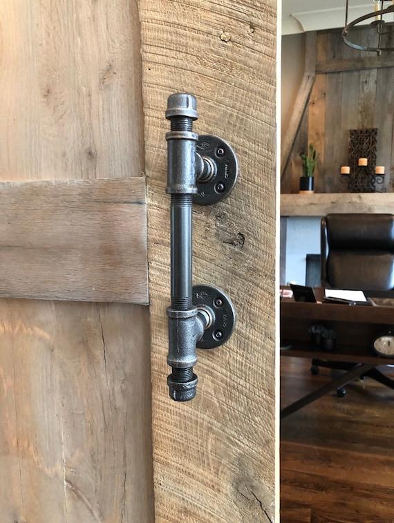 Rustic Barn Door Handle Made From Industrial Pipe Industrial Etsy
