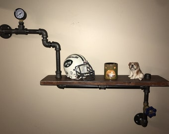 Steampunk Shelf made from Reclaimed Wood and Industrial Pipe with preasure gauge and water valve Industrial shabby chic Hampton Industrial