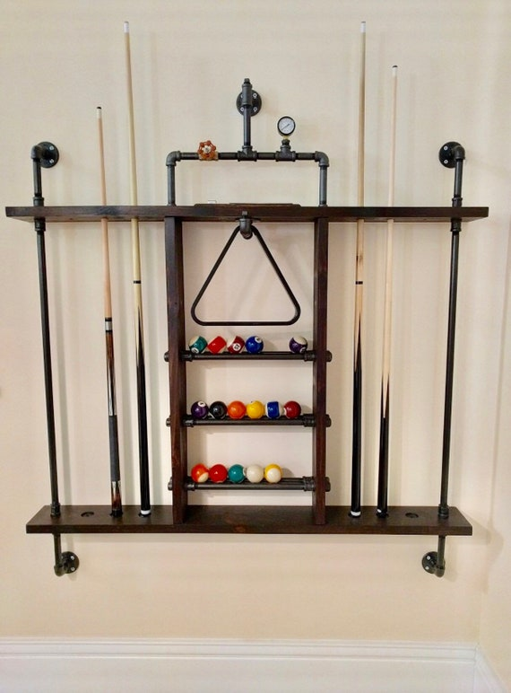 Pool Cue Holder Made From Reclaimed Wood And Industrial Pipe Etsy