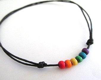 Wooden bead choker necklace LGBT gay pride choker rainbow choker gay pride jewelry gay pride necklace vegan grunge boho hippie gay gift