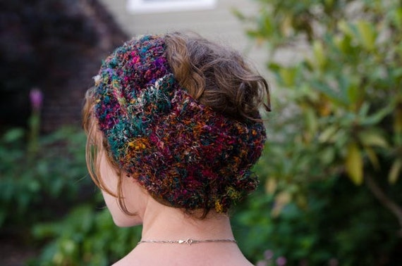 Turban Knit Pattern Recycled Sari Silk Yarn Project Headband