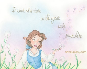 Princess Belle print, Beauty and the Beast, Belle print