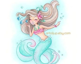 Mermaid Print Julia Painting Wall Art Gift Girls Room Decor