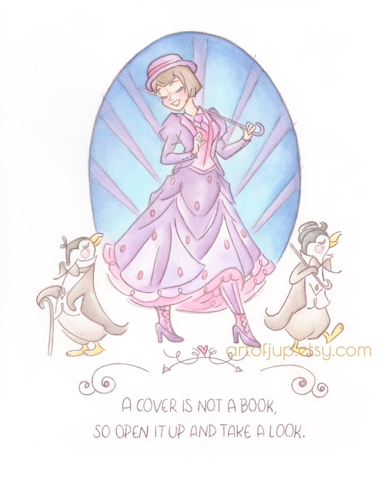 Home Decor Gift Disney ART PRINT Mary Poppins Quote 2 illustration Wall Art