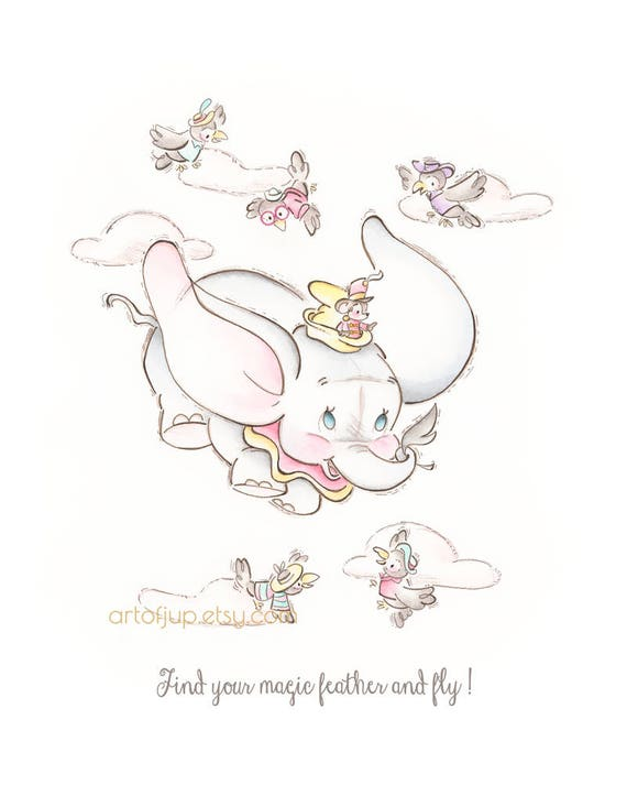 Dumbo Art Print Quote Wall Poster Home Decor Disney