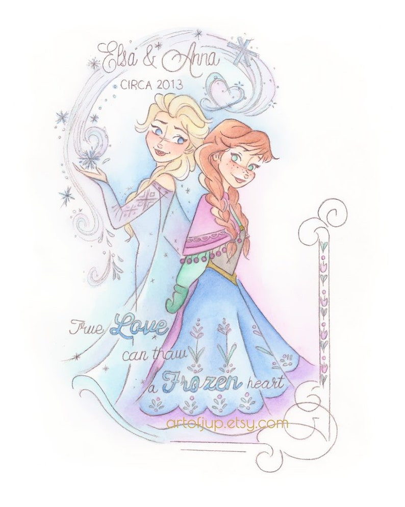 Disney Frozen Anna And Elsa Art Print Princess Home Decor