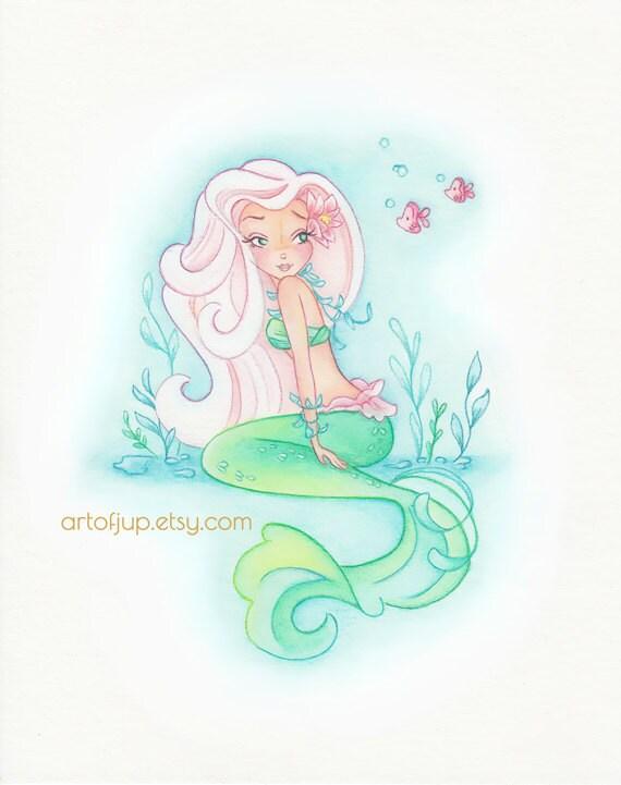 Mermaid Wall Art Decor Lily Painting