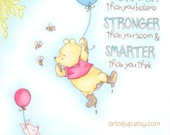 Winnie the Pooh, art print, quote - Winnie the Pooh nursery decor, disney