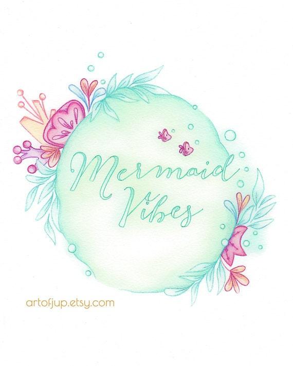 Mermaid Art Quote Print Decor