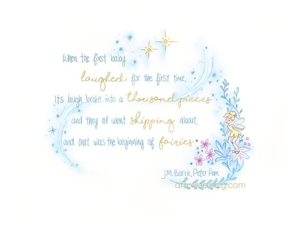 tinker bell print disney quote how fairies are born wall