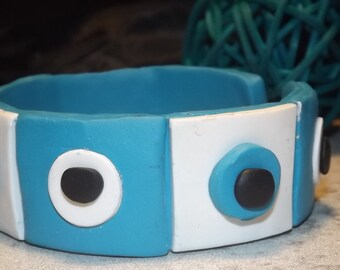 Bracelet polymer clay, turquoise/white/black, Handmade