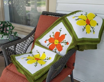 Vintage Crochet Blanket, Handmade Blanket, Retro Home Decor, Flower Power,  Lap Blanket