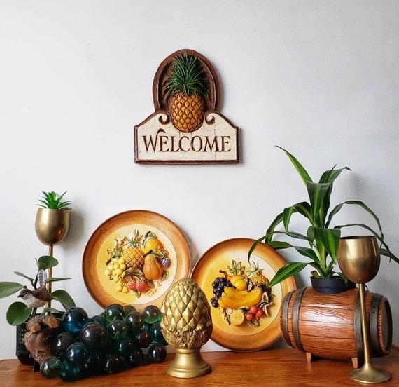 Napco ceramic fruit plaques // Vintage Fruit Decor // Kitchen Decor //  Tropical Decor // Pineapple Decor // Bohemian // 1960\'s