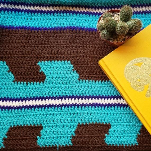 Vintage Crochet Decke Petrol Und Braun Decke Werfen Südwesten Dekor Pfeile Vintage Decke Afghanischen Runde Decke