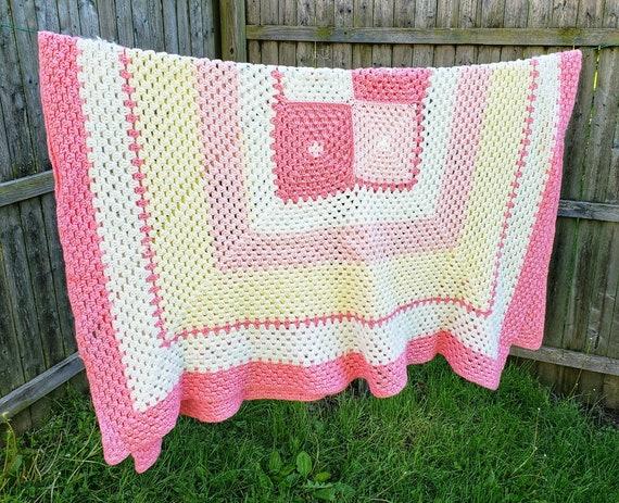 Vintage Crochet Blanket  Soft Pinks  Retro Throw Blanket  Vintage Blanket  Afghan  Lap blanket  Pink Decor