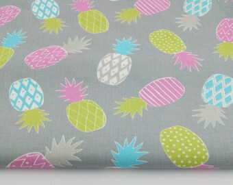 Fabric 100% cotton tropical toucans printed 50 x 160 cm, pink & green pineapple on a grey background