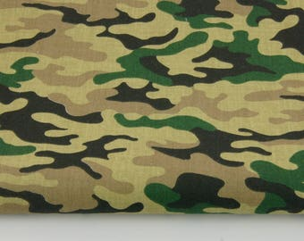 100% cotton fabric color army green camouflage pattern printed 50 x 160 cm, 100% cotton