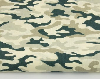 100% cotton fabric army beige camouflage pattern printed 50 x 160 cm, 100% cotton