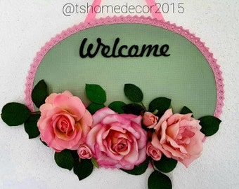 Romantic rose welcome wall decoration