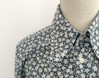 shirt with flower pattern, 70s floral shirt, 70s floral button down shirt; long sleeved shirt, shirt for women, womens shirt, vintage 1970s
