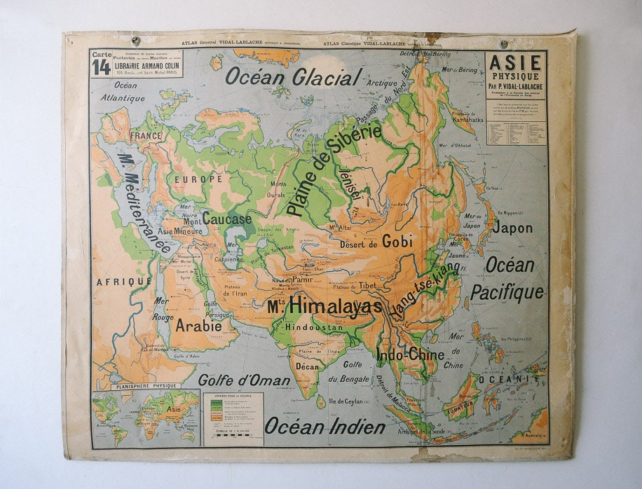 Map Of Asia In French.Original 1950s Large Vintage French Educational School Wall Chart