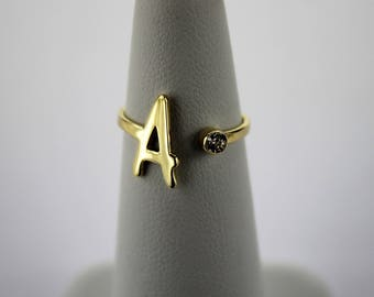 14K Yellow Gold Initial Ring Handmade with CZ, Adjustable Ring 6 - 7.5