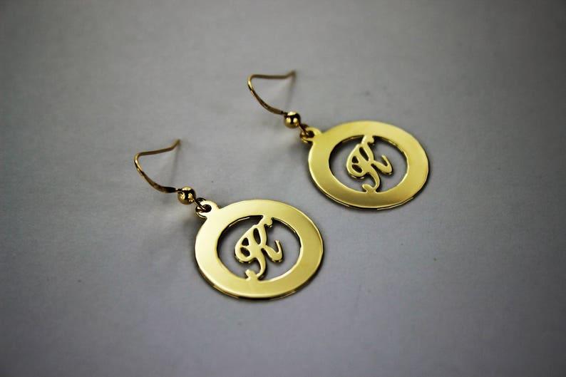 High Polish A ~ Z Alphabet 14K Yellow Gold Initial Earrings One pair