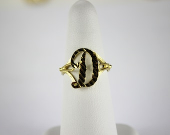 10K Real Yellow Gold Initial Ring Cursive Letters for Women