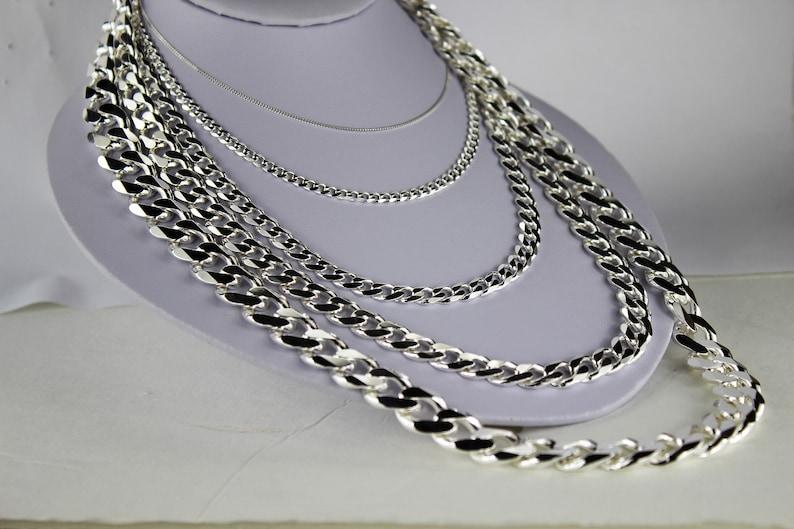 2ee9818627104 925 Sterling Silver Cuban Link Chain Necklace 1.5mm ~ 15mm Men Women 16