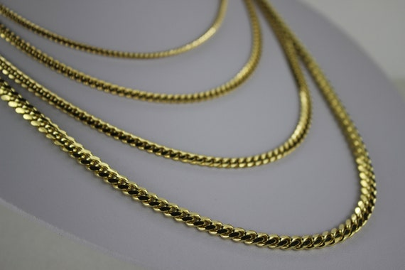 10K Solid Yellow Gold Miami Cuban Link Chain Necklace Men  61ca2c9845