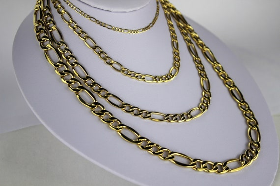 10k Yellow Gold Polished 2.2mm Figaro Link Chain Bracelet 7-30
