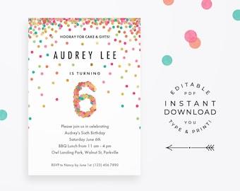 rainbow 6th birthday party invitation instant download etsy