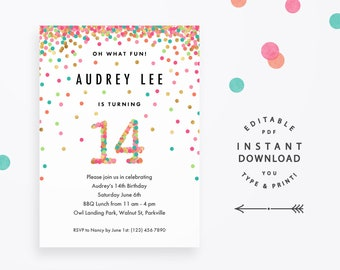 Girl 14th Birthday Invitation, Instant Download Printable PDF. 14 year old girl birthday party invites in mint, teal, pink and gold confetti
