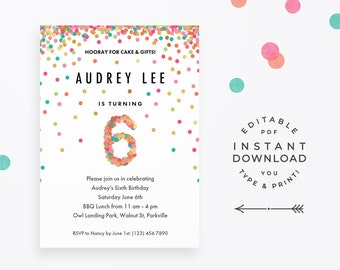 Girl 6th Birthday Invitation Instant Download Printable PDF 6 Year Old Party Invites In Mint Teal Pink And Gold Confetti