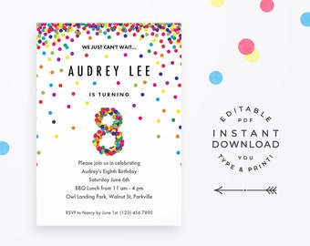 Rainbow 8th Birthday Party Invitation Instant Download Printable PDF Cute Confetti Invitations For 8 Year Old Girl Or Boy