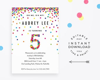 Rainbow 5th Birthday Party Invitation Instant Download Printable PDF Cute Invitations For 5 Year Old Girl Or Boy