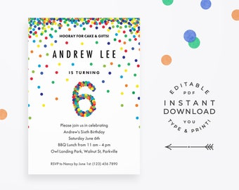 Confetti 6th Birthday Invitation Boy Instant Download Editable Colorful Rainbow For Boys Sixth